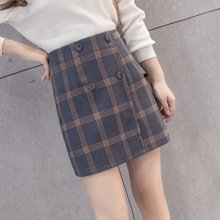 植木直秋冬格子短裙新款韩版格子半身裙毛呢高腰显瘦包臀裙潮*K\160902