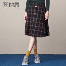 熙世界中长款通勤格子短裙女新款半身裙A字裙108LQ396