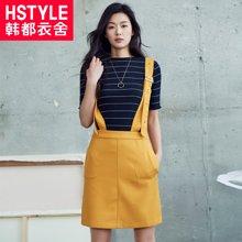 韩都衣舍2018韩版女装春装新款纯色A字背带半身裙JT6937槿