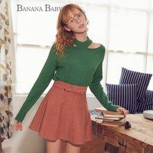 BANANA BABY新款日系复古半身裙高腰系带半裙A字裙韩版D74Q027