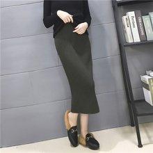 百依恋歌 纯色针织半身裙 hh123