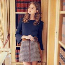BANANA BABY新款高腰格子裙毛呢短裙日系A字裙系带半身裙D74Q910