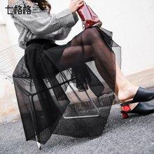 新品 七格格 黑色網紗半身裙春裝2018新款女裝韓版不規則假兩件中長裙子紗裙潮