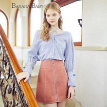 BANANA BABY2018秋冬新款高腰通勤A字裙短裙韩版简约修身半身裙D81Q939