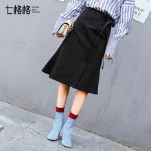 新品 七格格 黑色半身裙高腰春装2018新款女韩版百搭绑带a字型中长款包臀裙子