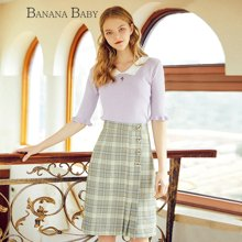 BANANA BABY2018春季新品韩版时尚格子半身裙不对称A字裙中裙半裙D81Q938