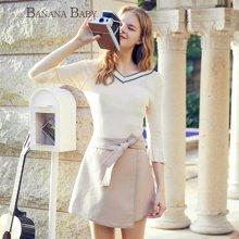 BANANA BABY2018秋冬新款韩版A字短裙半裙高腰系带简约纯色半身裙D81Q956