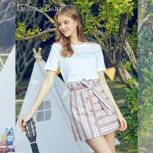 BANANA BABY2018春季新款高腰系带条纹短裙半身裙韩版撞色A字裙D82Q957