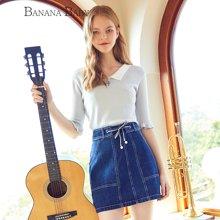 BANANA BABY2018春季新款高腰系带牛仔短裙韩版简约A字裙半身裙D82Q959