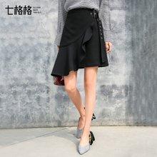 新品 七格格 荷葉邊半身裙2018新款女裝春裝黑色韓版百搭時尚高腰不規則中裙子