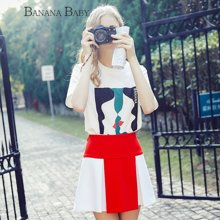 BANANA BABY2018春季新款学院运动风短裙半裙韩版撞色A字裙半身裙D81Q042