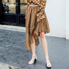 新品 七格格 波点半身裙春装2018新款女韩版百搭时尚a字裙不规则中长款裙子潮