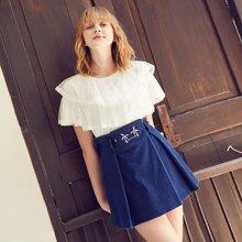 BANANA BABY2018夏季新款chic高腰显瘦刺绣牛仔半裙A字短裙韩版D82Q052