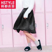 韩?#23478;?#33293;2018秋装新款韩版女装黑色高腰宽松潮半身裙NL7511嬛0809