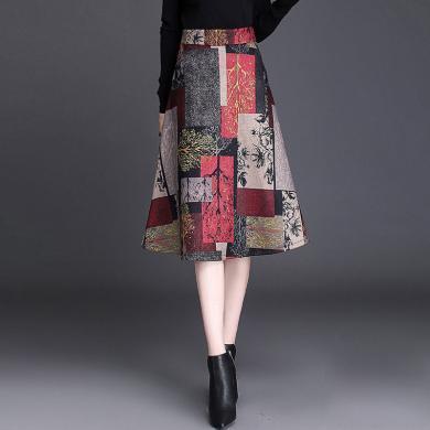 億族 秋季新款韓版時尚休閑A字裙中長款百搭高腰半身裙大擺裙女