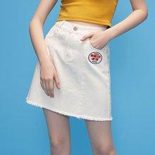 初语夏季新款 A字型牛仔棉质净色半身短裙8821735005