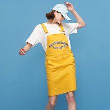 初语2018夏季新款 字母刺绣可调节短款背带裙女8822442018