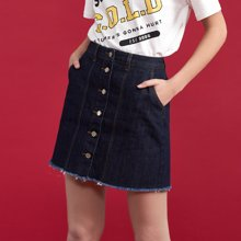 初語夏季新款 裙兜標簽排扣毛邊牛仔半身短裙8821732000