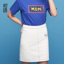 初语夏季新款 明线刺绣H型牛仔半身短裙8821735011
