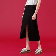 初语夏季新款 中腰层次感开衩A摆半身裙8821712008