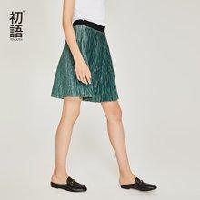 初语2018夏季新款 裙子女港味纯色半身短裙chic纱裙气质百褶裙8821732013