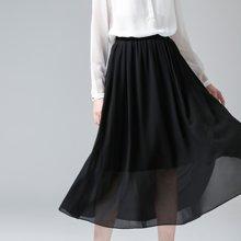 初语夏季黑色裙A字裙女夏装显瘦纱裙大摆百褶裙百搭雪纺半身长裙8621716806