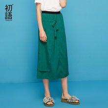 初语2018夏季新款 纯色显瘦系带时尚中长半身裙港味一步裙A字裙8821722014