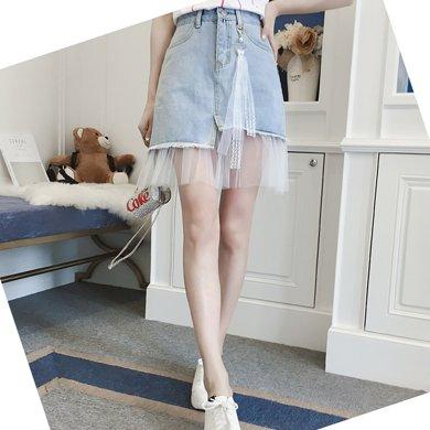 億族 夏季新款網紗拼接牛仔半身裙高腰百搭A字裙