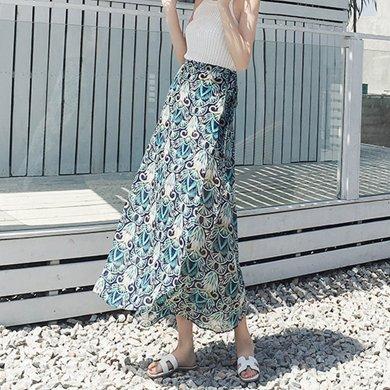 綺娑 夏季新款孔雀印花海邊度假波西米亞長裙一片式系帶半身裹裙碎花半身裙