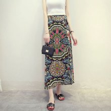 綺娑 夏季新款彩色印花海邊度假波西米亞長裙一片式系帶半身裹裙碎花半身裙
