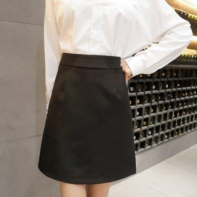 妙芙琳 黑色高腰西裝正裝工作半身裙子夏季a字短裙女