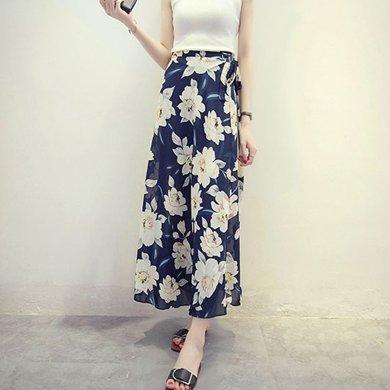 億族 夏季新款白牡丹印花海邊度假波西米亞長裙一片式系帶半身裹裙碎花半身裙