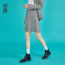 初语英伦学院风格纹拉链半身短裙女2018秋装新款经典复古A字裙8831732010