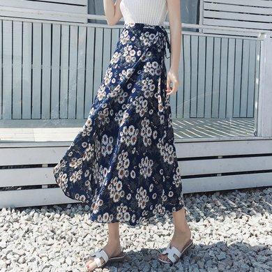 億族 夏季新款小雛菊印花海邊度假波西米亞長裙一片式系帶半身裹裙碎花半身裙