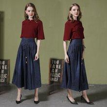 薇語馨新款大碼牛仔裙高腰綁帶半身長裙1027