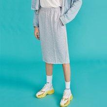 初语 OL通勤系带H型半身裙夏季中长裙子女2018新款松紧腰纯色半裙8831711002
