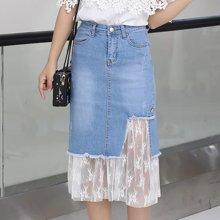 绮娑 夏季新款时尚蕾丝网纱拼接高腰半身裙不规则牛仔裙