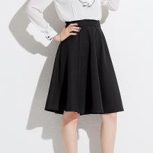 姝奕2018秋季新款品牌女裝韓版高腰修身顯瘦黑色裙子百搭A字裙半身裙QBZ88270