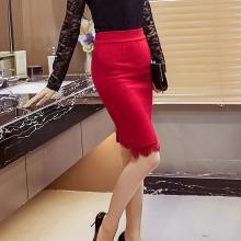 亿族 高腰半身裙女夏季新款修身显瘦性感蕾丝拼接前开叉弹力包臀裙半身裙女