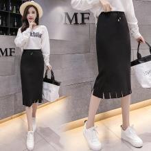 亿族 针织半身裙女秋冬装新款韩版中长款修身显瘦包臀裙下摆流苏一步裙