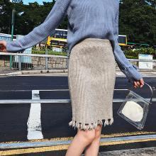 億族 流蘇毛邊針織半身裙女秋冬裝新款韓版高腰顯瘦一步裙包臀裙