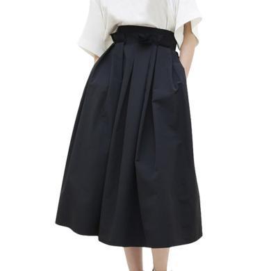 tobebery2018夏款歐洲站新款時尚半身裙名媛女裝抽褶中長裙修身潮