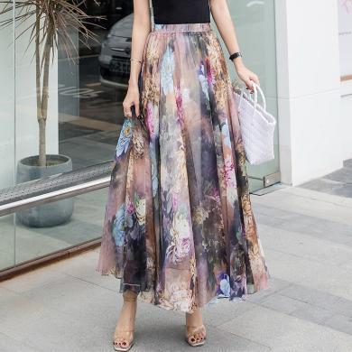 綺娑 夏季新款氣質修身顯瘦高腰長裙時尚飄逸寬松印花雪紡半身裙女