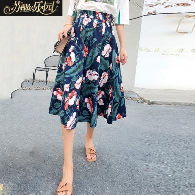 蘇醒的樂園女裝半身裙新款夏季韓版時尚潮修身氣質印花下裝A字裙中長款SXDQl8109