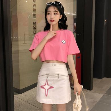CAVS夏季2019新款粉色少女套裝俏皮時尚T恤短款洋氣減齡半身裙兩件套HD7505