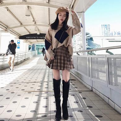 CAVS秋裝2019新款女裝套裝百褶裙秋冬港味毛衣裙子兩件套HDC093
