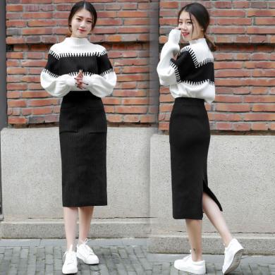 CAVS秋冬針織氣質毛衣加裙子兩件套裙套裝秋裝俏皮洋氣HF5182