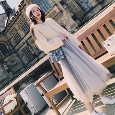 CAVS山本風裙秋冬初戀女神顯瘦裙子早秋套裝女裝成熟梗桔裙初戀裙HDZ094