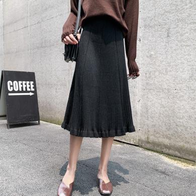 meyou 針織半身裙女秋冬裝新款時尚氣質木耳邊高腰A字裙