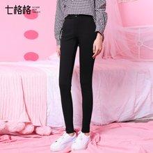 七格格新款 黑色修身小脚休闲裤铅笔裤